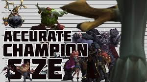 Champion Sizes According To Lore