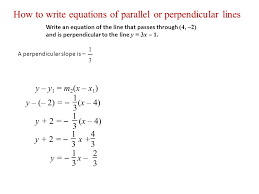 how to write equations of parallel or perpendicular lines