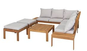 argos home 6 seater wooden corner sofa set garden table and chair sets