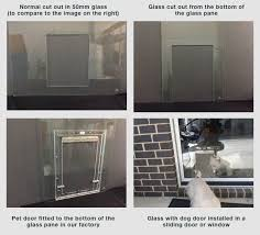a hole in glass is normally a minimum of 50 mm up from the base of the glass then there is the frame of the pet door and that could make it