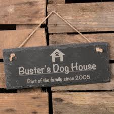 personalised hanging slate sign dog house