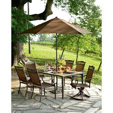 Patio furniture dining sets with umbrella Umbrella Metamorf Sears Outlet Patio Furniture Design For Outstanding Backyard Decoration With Green Grass Also Stone Pavers Plus Fresh Sofa Design Patios Enjoying Your Meals Outdoors With Sears Outlet Patio