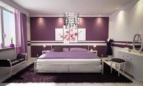 orange wall paintBlue Bed On White Platform Completed Purple And Grey Bedroom