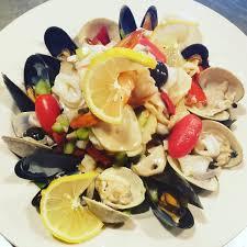 Seafood salad olive oil lemon vinegar ...