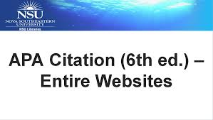 Apa Style How To Apa Citation 6th Ed Entire Websites