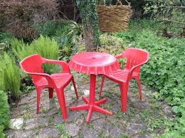 coca cola bistro set red plastic 2 chairs in good condition 1
