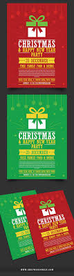 christmas happy new year party flyer template mock up
