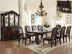 crown mark 2150t 7 pc kiera brown finish wood formal dining table set with carved accents