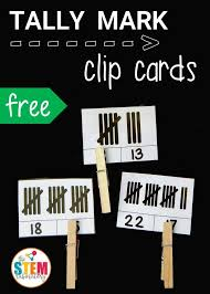 Awesome tally mark clip cards for kindergarten or first grade ...