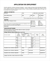Generic Employment Application Form Free 11 Sample Employment Application Forms In Pdf Word