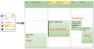 calendar office outlook show calendar as busy free tentative and out of office