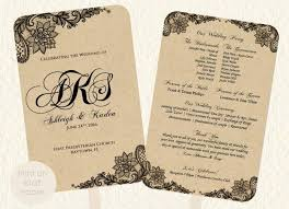 wedding fan program template lace kraft rustic style print on kraft or colored paper vine diy instant suggested free fonts