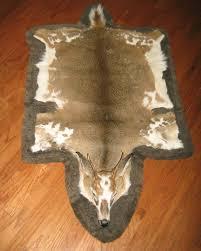 deer skin rug with head