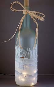 Decorative Wine Bottles With Lights Hand Painted Lighted Wine Bottle Winter Snow Scene Hostess 1