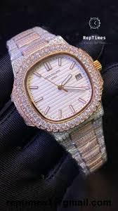 Iced Gold Patek Nautilus Down Philippe Big Out Bezel Tone Men Two Replica Watch Rose Bust Diamond