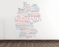 map of germany with city names modern wall decal