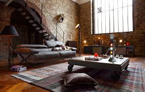 the brick living room furniture. Industrial Loft Living Room Furniture With Rolling Coffee Table And Leather Reclining Sofa Black Shade Floor Lamp Surrounded By Rustic Brick The