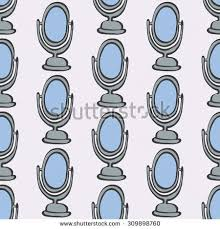 hand held mirror drawing. Mirror. Seamless Pattern With Doodle Mirrors. Hand-drawn Sketch Background.  Vector Illustration Hand Held Mirror Drawing