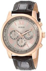cheap guess watch guess watch deals on line at gold · guess men s u0380g4 chronograph brown watch rose gold tone case genuine leather