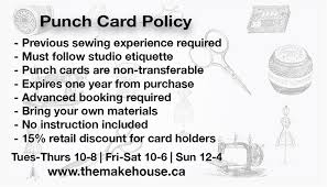 Discount Punch Card Sew Go Punch Card The Makehouse