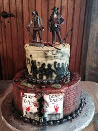 our wedding cake ! ( well , it was the groom's cake, but i ate Zombie Wedding Decorations our wedding cake ! ( well , it was the groom's cake, but i ate most of it ! ) we love the walking dead ! we gave our action figures to the decorator zombie wedding supplies