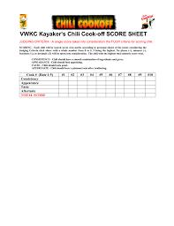 chili cook off judging sheet vwkc kayakers chili cook off score sheet