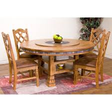 wood round dining table with sedona chairs in rustic oak humble abode plan 14