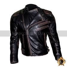 men s skull embossed biker leather jacket vintage distressed black