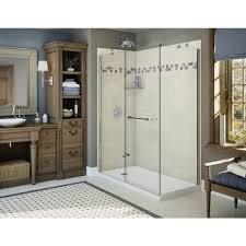 maax utile stone 32 in x 60 in x 83 5 in alcove shower stall in sahara with left drain base in white 106134 000 001 101 the