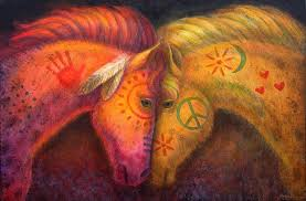 painting war horse and peace horse by sue halstenberg