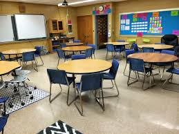 here is a four corner view from my classroom once it was set up prior to when i began teaching in it i was at first reluctant to take the round tables