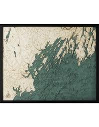 Nautical Wood Charts Woodcharts Portland Me Bathymetric 3 D Wood Carved Nautical Chart