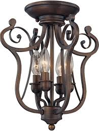harp design iron semi flush mount ceiling light 4 lights 13 wx14 h