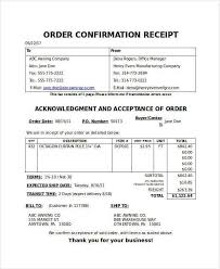 Confirm Of Receipt Free 13 Order Receipt Samples Templates In Psd Word