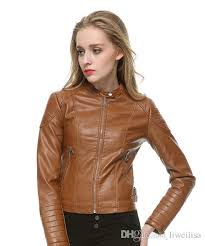 fashion women elegant zipper faux leather biker jacket in brown black slim las coat casual brand motorcycle leather coat jacket styles womens leather