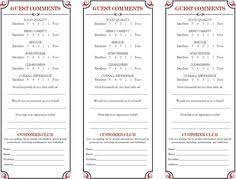 13 Examples Customer Comment Card Template For Restaurant With Any