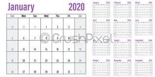 Planner 2020 Template Stock Vector Calendar Planner 2020 Template