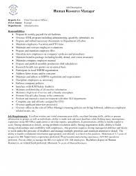 Human Resources Manager Job Description Resume Sample Templates