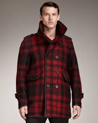 burberry mens red pea coat