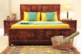 Sheesham Bedroom Furniture Kaya Walnut Color Sheesham Wood King Bed With Hydraulic Storage