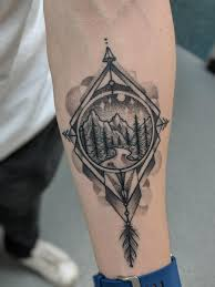 My First Tattoo Geometric Landscape Compass By Marko Prenger Of