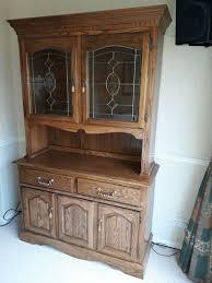 dresser display cabinet sideboard dark wood with decorative glass doors