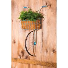 front basket metal bicycle wall decor and planter rc willey furniture store on bike wall decor with basket with front basket metal bicycle wall decor and planter rc willey