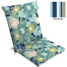 Mainstays Outdoor Chair Cushion Blue Floral Patio & Outdoor