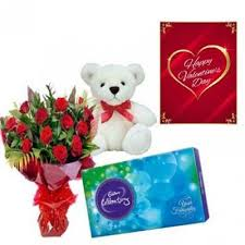 valentine teddy and roses bo