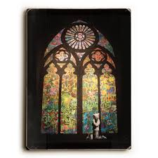 stained glass by banksy solid wood wall art 71819sw912 the home depot
