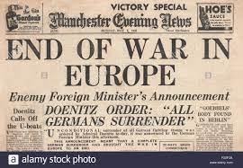 1945 Manchester Evening News front page reporting End of War in Stock Photo  - Alamy