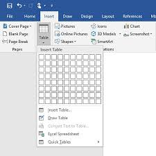 Eight Sixty Size Chart Creating And Formatting Tables In Word 2019 Dummies