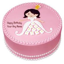 Princess Doll Happy Birthday Cake With Name Greeting Cards