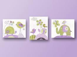 nice looking animal wall art for nursery room with purple wall color idea